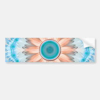 Clean and Pure Turquoise and White Fractal Flower Bumper Sticker