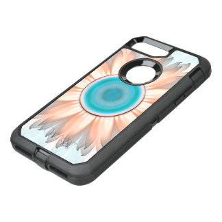 Clean and Pure Turquoise and White Fractal Flower OtterBox Defender iPhone 8 Plus/7 Plus Case