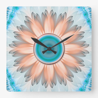 Clean and Pure Turquoise and White Fractal Flower Square Wall Clock