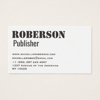 Clean and simple white business card