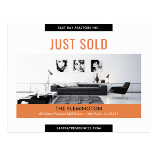 Clean black orange Just sold real estate advert Postcard