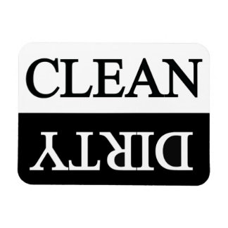 Clean dirty black dishwasher magnet