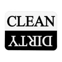 Clean dirty black dishwasher vinyl magnets