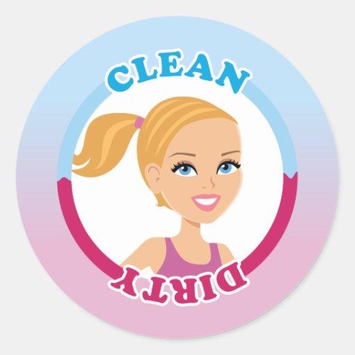 Clean Dirty Blonde Girl Magnet Round Sticker