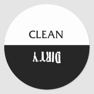 Clean Dirty Dishes Magnet Round Sticker
