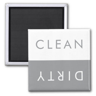 Clean Dirty Dishwasher Magnet in Grey and White