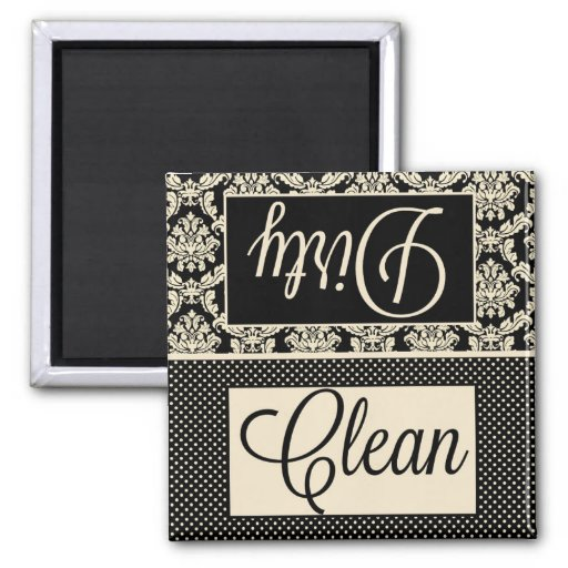 Clean Dirty Dots and Damask Dishwasher Magnet