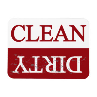 Clean dirty maroon dishwasher magnet