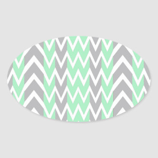Clean Gray and Green Chevron Humps Oval Sticker