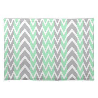 Clean Gray and Green Chevron Humps Placemat