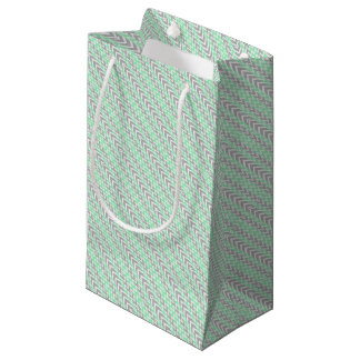 Clean Gray and Green Chevron Humps Small Gift Bag
