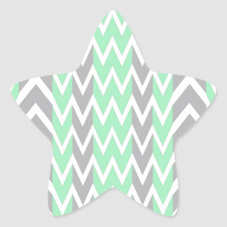 Clean Gray and Green Chevron Humps Star Sticker