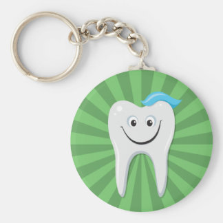Clean green happy cartoon tooth with tooth paste keychain
