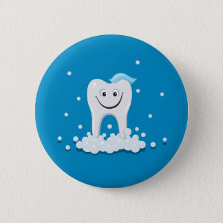 Clean happy tooth with bubbles button