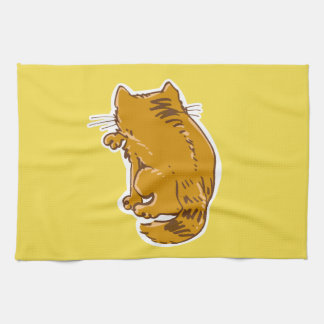 clean kitty licking sweet cat funny cartoon kitchen towel