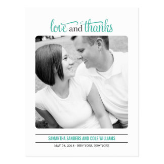 Clean Look Wedding Thank  You Card Postcard