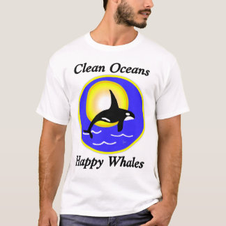 Clean Ocean Happy Whales Contrast T T-Shirt