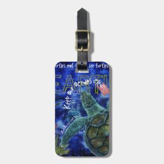 Clean Ocean Sea Turtle Art Bag Tag