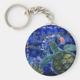 Clean Ocean Sea Turtle Art Basic Round Button Keychain