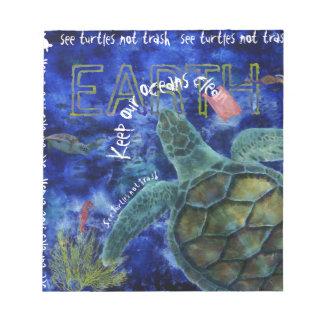 Clean Ocean Sea Turtle Art Notepads