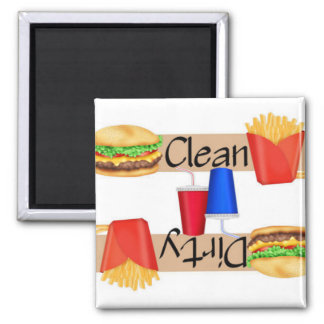 Clean or Dirty Burgers and Fries Dishwasher Square Magnet