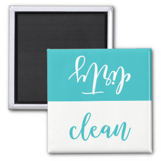 Clean Or Dirty Dishwasher Magnet (Aqua & White)
