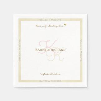 clean pale colors monogrammed wedding reception disposable napkins