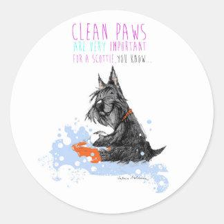 Clean Paws Scottie Dog Classic Round Sticker