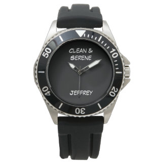 Clean & Serene Wrist Watch, Black Strap Watch
