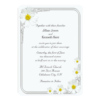 Clean White Flower Modern Wedding Invitation