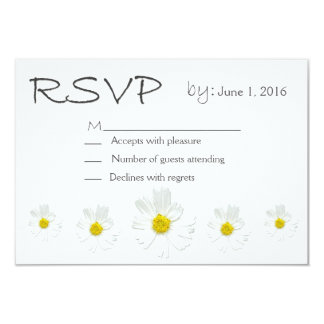 Clean White Flower RSVP Card