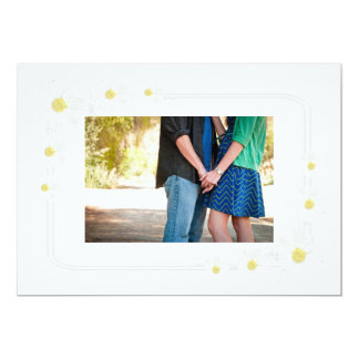 Clean White Flower Save The Date Card with Photo