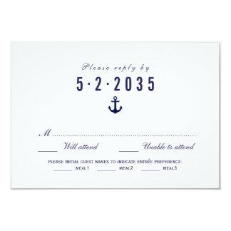 Clean White Nautical Wedding RSVP Card Meal Choice