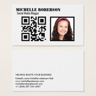 Clean white photo and code business card