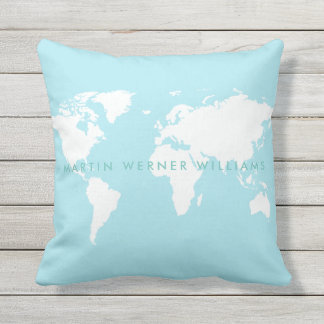 clean white world map on light blue throw pillow
