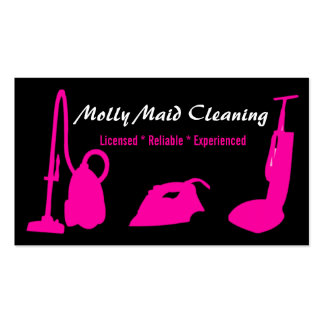 Cleaning Services Business Card Pink Black