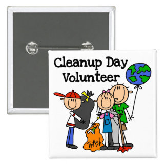 Cleanup Day Volunteer T-shirts and Gifts 2 Inch Square Button