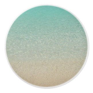 """ CLEAR AQUAMARINE CARIBBEAN SEA AND SAND"" CERAMIC KNOB"