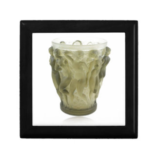 Clear Art Deco glass vase with female dancers. Gift Box