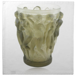 Clear Art Deco glass vase with female dancers. Napkin