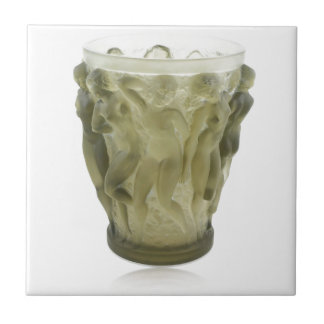 Clear Art Deco glass vase with female dancers. Tile