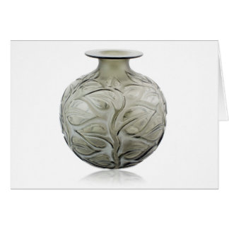 Clear Art Deco glass vase with flower design. Card
