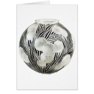 Clear Art Deco vase with etched black design. Card