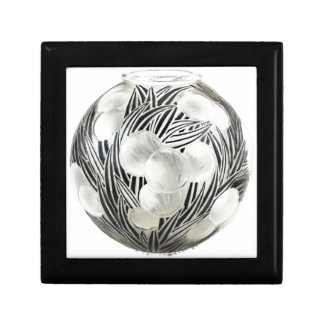 Clear Art Deco vase with etched black design. Gift Box
