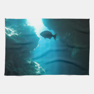 Clear blue cave and fish hand towels