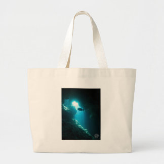 Clear blue cave and fish large tote bag