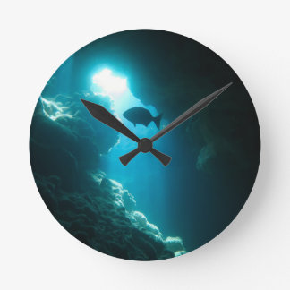 Clear blue cave and fish wall clock