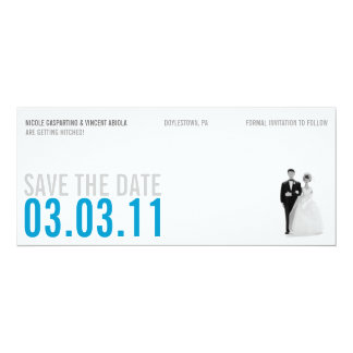 Clear Blue Kitsch Save The Date Card