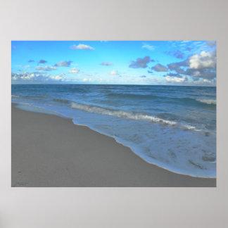 Clear Blue Ocean, Beach and Sky Poster