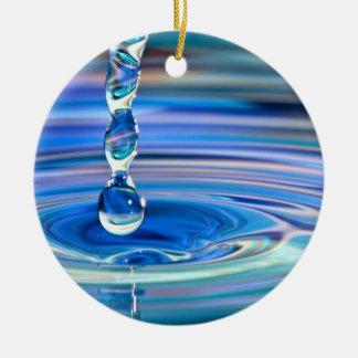 Clear Blue Water Drops Flowing Round Ceramic Ornament